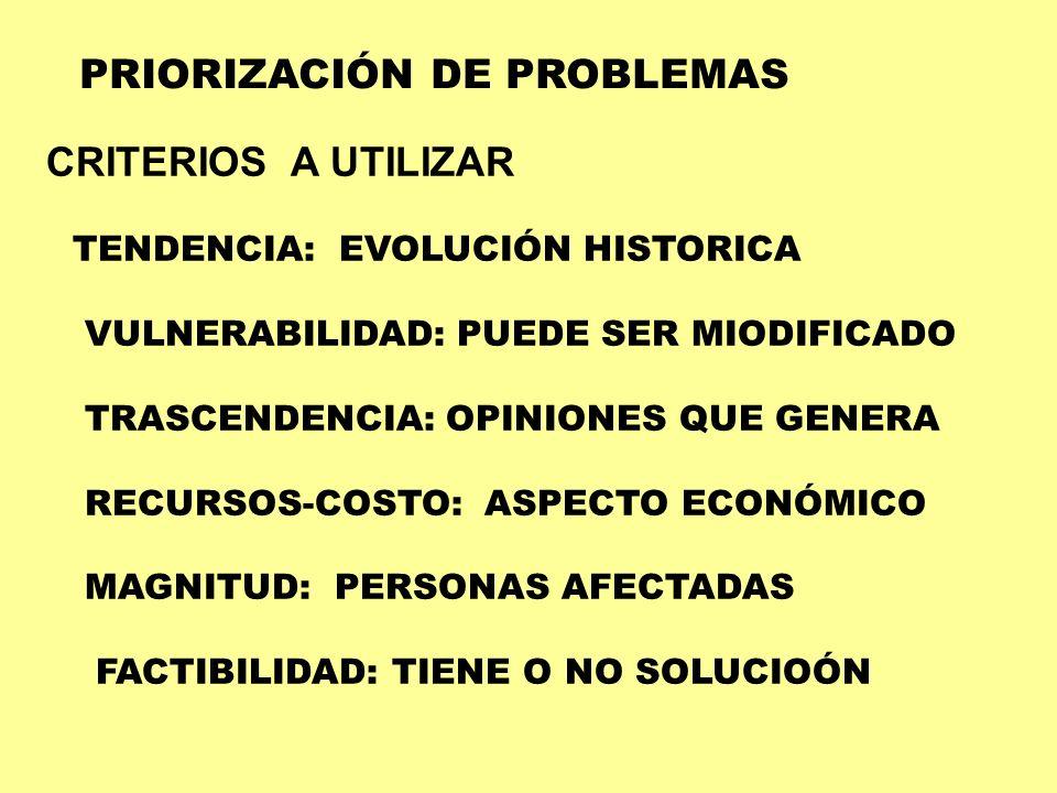 PRIORIZACIÓN DE PROBLEMAS CRITERIOS A UTILIZAR TENDENCIA: EVOLUCIÓN HISTORICA VULNERABILIDAD: PUEDE SER MIODIFICADO TRASCENDENCIA: OPINIONES QUE GENER