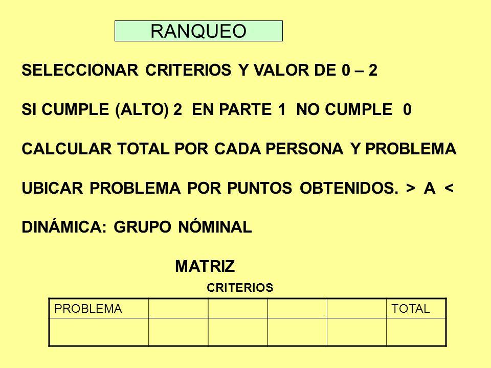 RANQUEO SELECCIONAR CRITERIOS Y VALOR DE 0 – 2 SI CUMPLE (ALTO) 2 EN PARTE 1 NO CUMPLE 0 CALCULAR TOTAL POR CADA PERSONA Y PROBLEMA UBICAR PROBLEMA PO