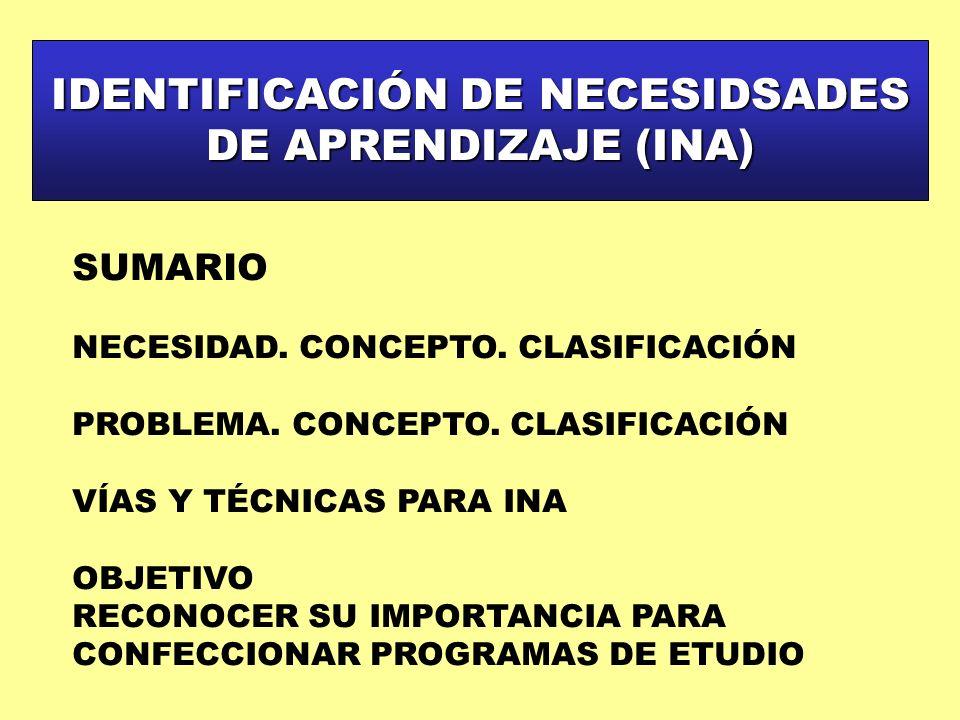 IDENTIFICACIÓN DE NECESIDSADES DE APRENDIZAJE (INA) SUMARIO NECESIDAD. CONCEPTO. CLASIFICACIÓN PROBLEMA. CONCEPTO. CLASIFICACIÓN VÍAS Y TÉCNICAS PARA