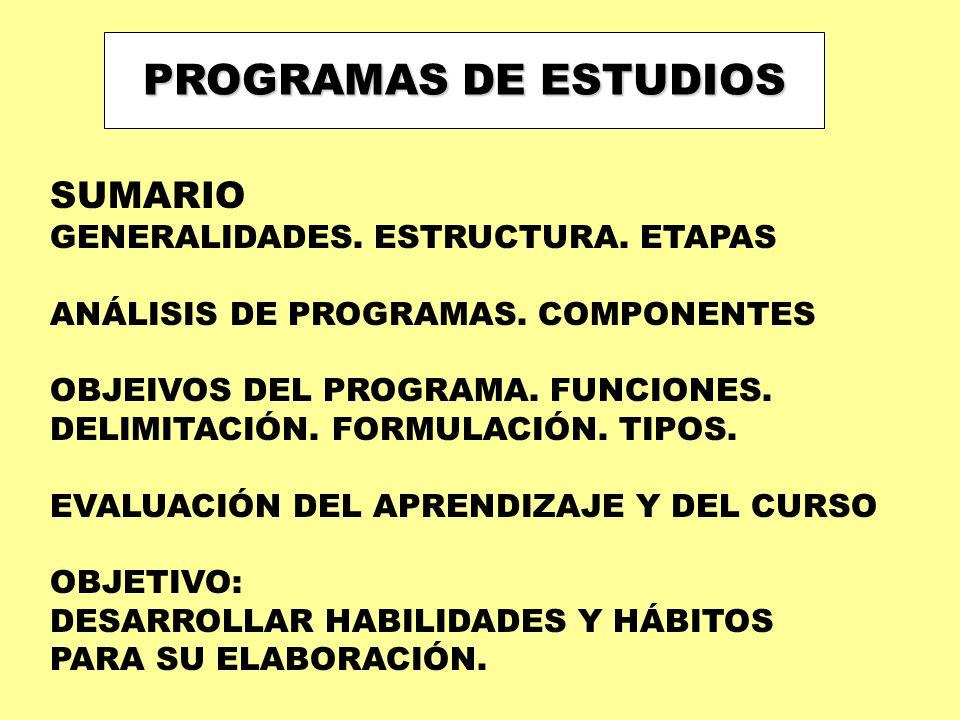 PROGRAMAS DE ESTUDIOS SUMARIO GENERALIDADES. ESTRUCTURA. ETAPAS ANÁLISIS DE PROGRAMAS. COMPONENTES OBJEIVOS DEL PROGRAMA. FUNCIONES. DELIMITACIÓN. FOR