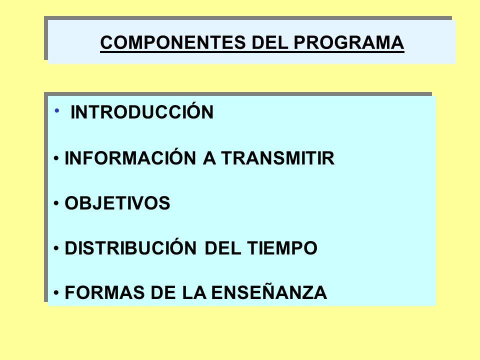 COMPONENTES DEL PROGRAMA INTRODUCCIÓN INFORMACIÓN A TRANSMITIR OBJETIVOS DISTRIBUCIÓN DEL TIEMPO FORMAS DE LA ENSEÑANZA INTRODUCCIÓN INFORMACIÓN A TRA