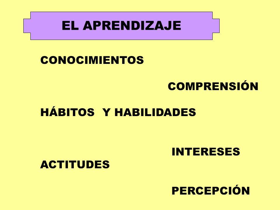 EL APRENDIZAJE CONOCIMIENTOS COMPRENSIÓN HÁBITOS Y HABILIDADES INTERESES ACTITUDES PERCEPCIÓN