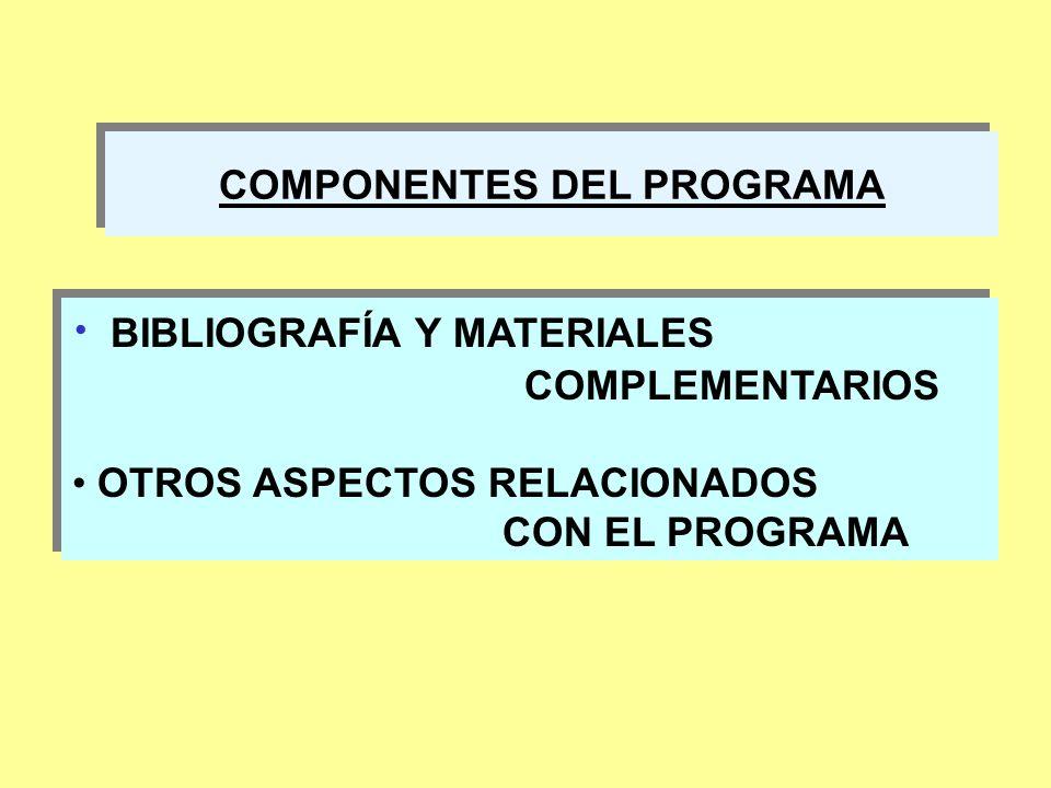 COMPONENTES DEL PROGRAMA BIBLIOGRAFÍA Y MATERIALES COMPLEMENTARIOS OTROS ASPECTOS RELACIONADOS CON EL PROGRAMA BIBLIOGRAFÍA Y MATERIALES COMPLEMENTARI
