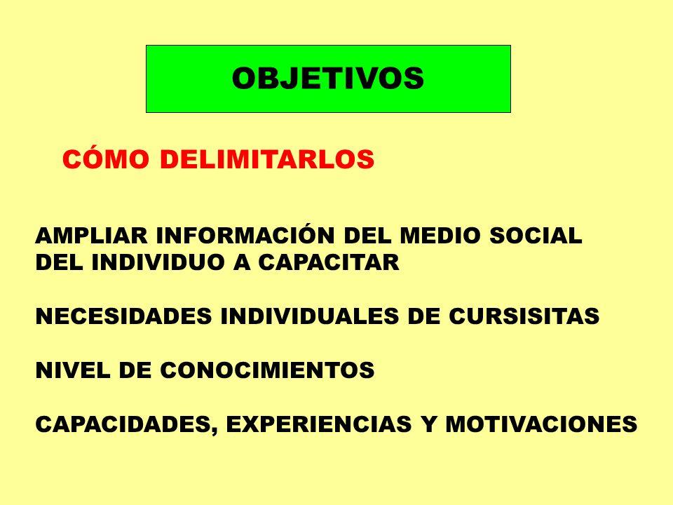 OBJETIVOS CÓMO DELIMITARLOS AMPLIAR INFORMACIÓN DEL MEDIO SOCIAL DEL INDIVIDUO A CAPACITAR NECESIDADES INDIVIDUALES DE CURSISITAS NIVEL DE CONOCIMIENT