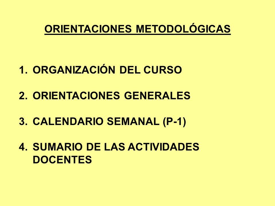 ORIENTACIONES METODOLÓGICAS 1.ORGANIZACIÓN DEL CURSO 2.ORIENTACIONES GENERALES 3.CALENDARIO SEMANAL (P-1) 4.SUMARIO DE LAS ACTIVIDADES DOCENTES