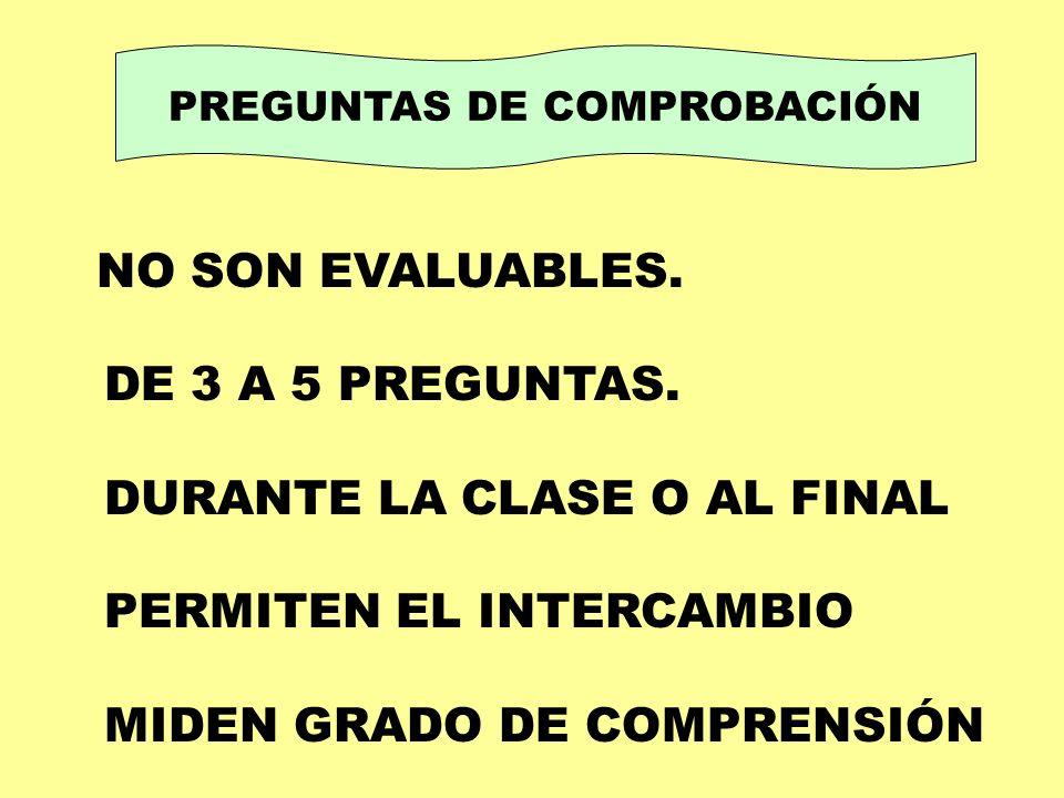 PREGUNTAS DE COMPROBACIÓN NO SON EVALUABLES. DE 3 A 5 PREGUNTAS. DURANTE LA CLASE O AL FINAL PERMITEN EL INTERCAMBIO MIDEN GRADO DE COMPRENSIÓN