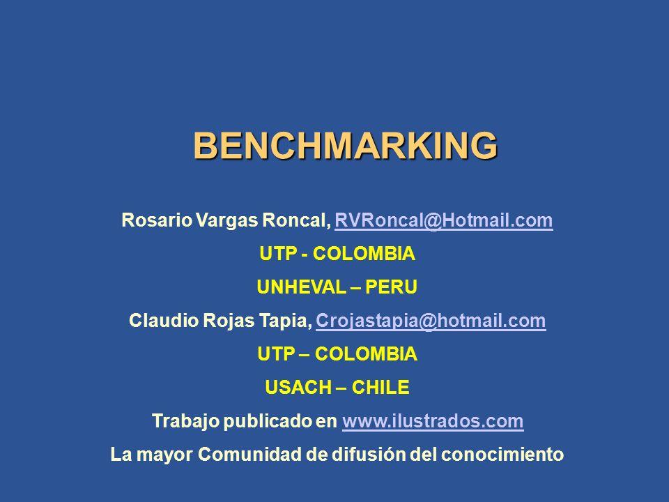 BENCHMARKING Rosario Vargas Roncal, RVRoncal@Hotmail.comRVRoncal@Hotmail.com UTP - COLOMBIA UNHEVAL – PERU Claudio Rojas Tapia, Crojastapia@hotmail.comCrojastapia@hotmail.com UTP – COLOMBIA USACH – CHILE Trabajo publicado en www.ilustrados.comwww.ilustrados.com La mayor Comunidad de difusión del conocimiento