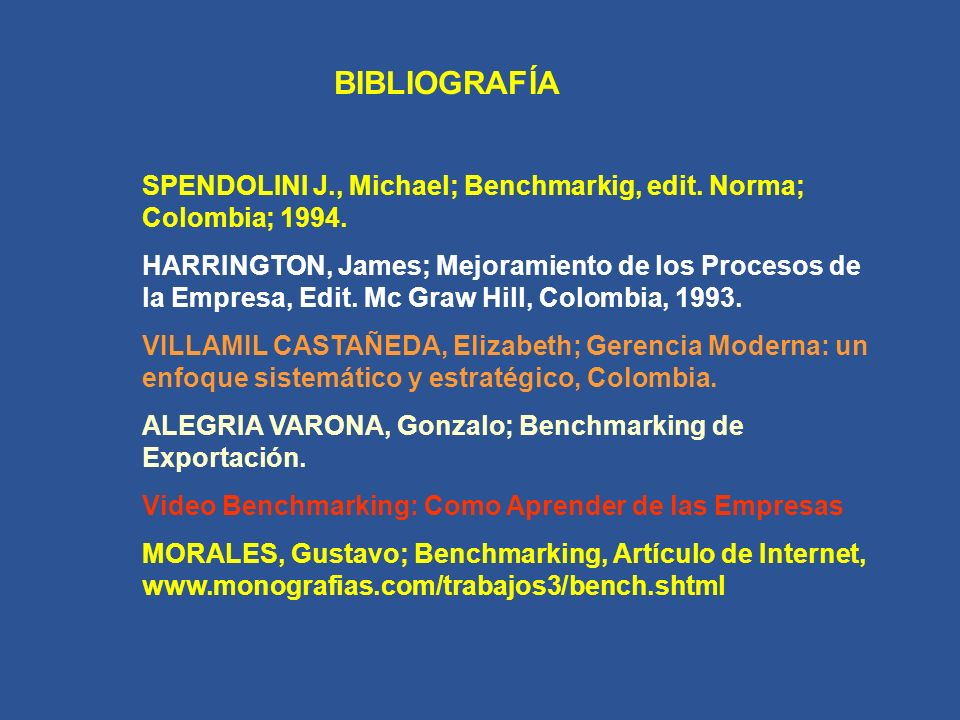 BIBLIOGRAFÍA SPENDOLINI J., Michael; Benchmarkig, edit.
