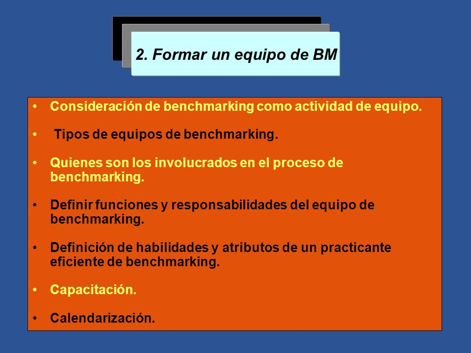 2. Formar un equipo de BM Consideración de benchmarking como actividad de equipo. Tipos de equipos de benchmarking. Quienes son los involucrados en el