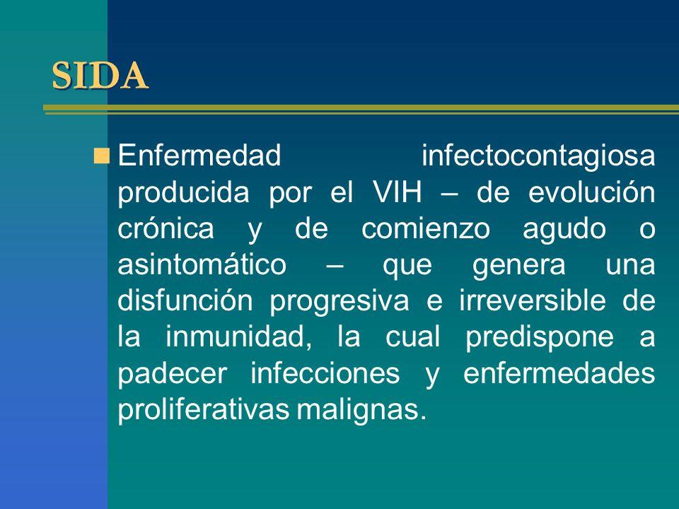 SIDA Enfermedad infectocontagiosa producida por el VIH – de evolución crónica y de comienzo agudo o asintomático – que genera una disfunción progresiv