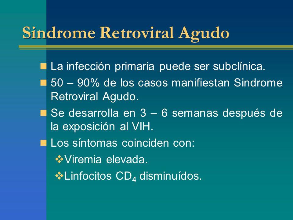 Sindrome Retroviral Agudo La infección primaria puede ser subclínica. 50 – 90% de los casos manifiestan Sindrome Retroviral Agudo. Se desarrolla en 3