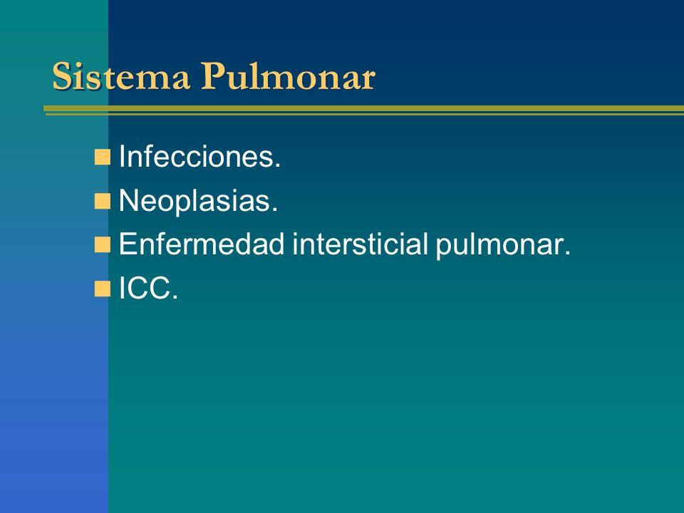 Infecciones. Neoplasias. Enfermedad intersticial pulmonar. ICC.