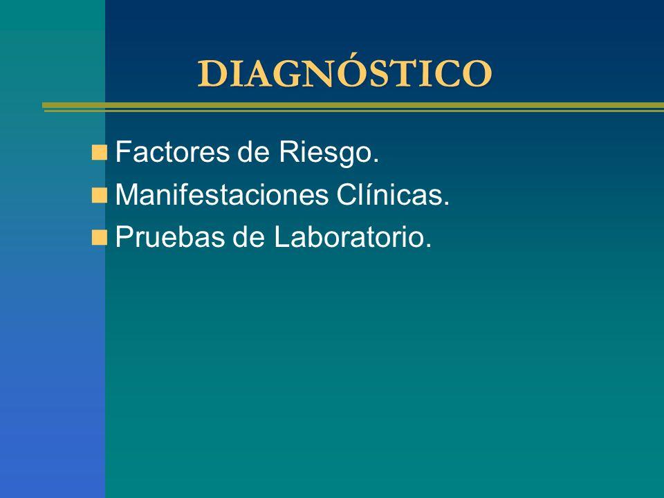 DIAGNÓSTICO Factores de Riesgo. Manifestaciones Clínicas. Pruebas de Laboratorio.