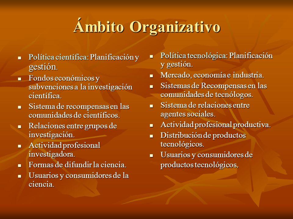 Ámbito Organizativo Política científica: Planificación y gestión. Política científica: Planificación y gestión. Fondos económicos y subvenciones a la