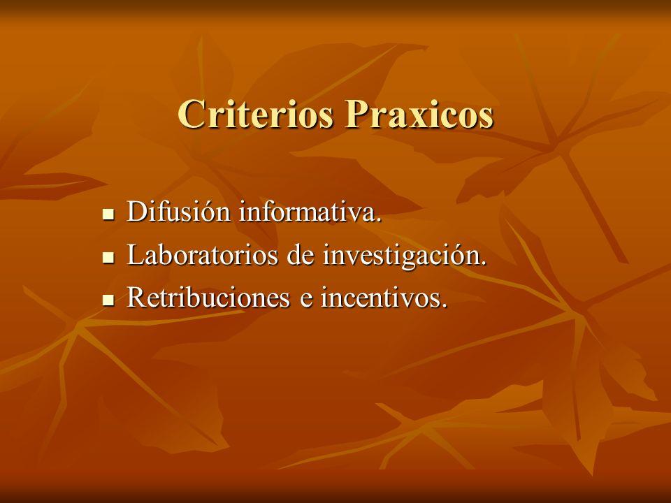 Criterios Praxicos Difusión informativa. Difusión informativa. Laboratorios de investigación. Laboratorios de investigación. Retribuciones e incentivo