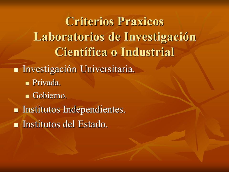 Criterios Praxicos Laboratorios de Investigación Científica o Industrial Investigación Universitaria. Investigación Universitaria. Privada. Privada. G