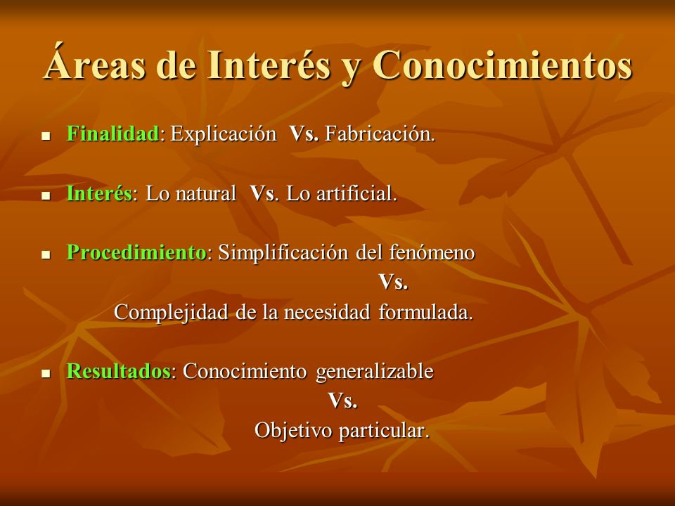 Áreas de Interés y Conocimientos Finalidad: Explicación Vs. Fabricación. Finalidad: Explicación Vs. Fabricación. Interés: Lo natural Vs. Lo artificial