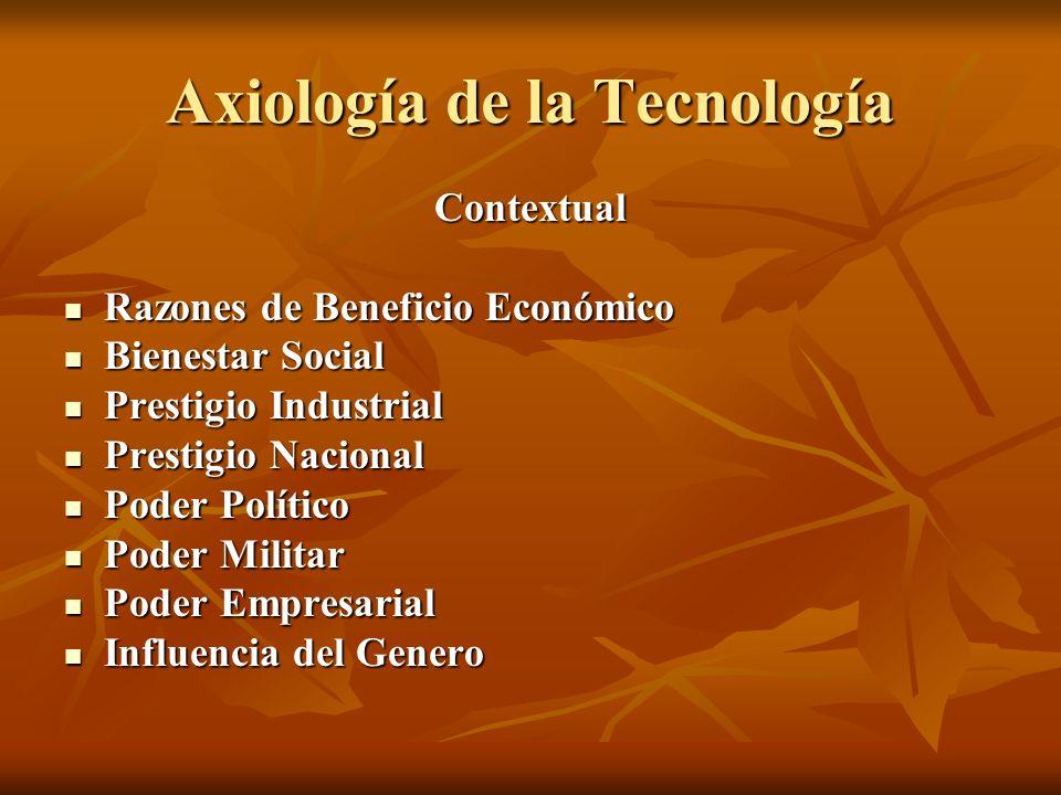 Axiología de la Tecnología Contextual Razones de Beneficio Económico Razones de Beneficio Económico Bienestar Social Bienestar Social Prestigio Indust