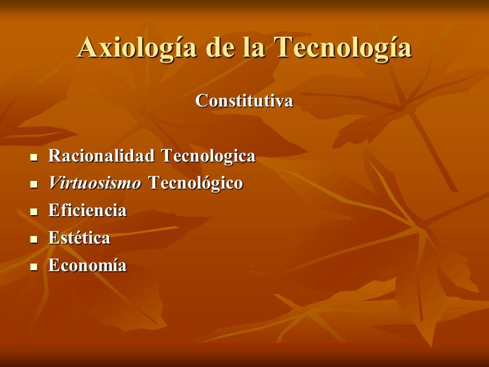 Axiología de la Tecnología Constitutiva Racionalidad Tecnologica Racionalidad Tecnologica Virtuosismo Tecnológico Virtuosismo Tecnológico Eficiencia Eficiencia Estética Estética Economía Economía