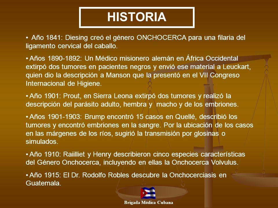 Año 1841: Diesing creó el género ONCHOCERCA para una filaria del ligamento cervical del caballo. Años 1890-1892: Un Médico misionero alemán en África