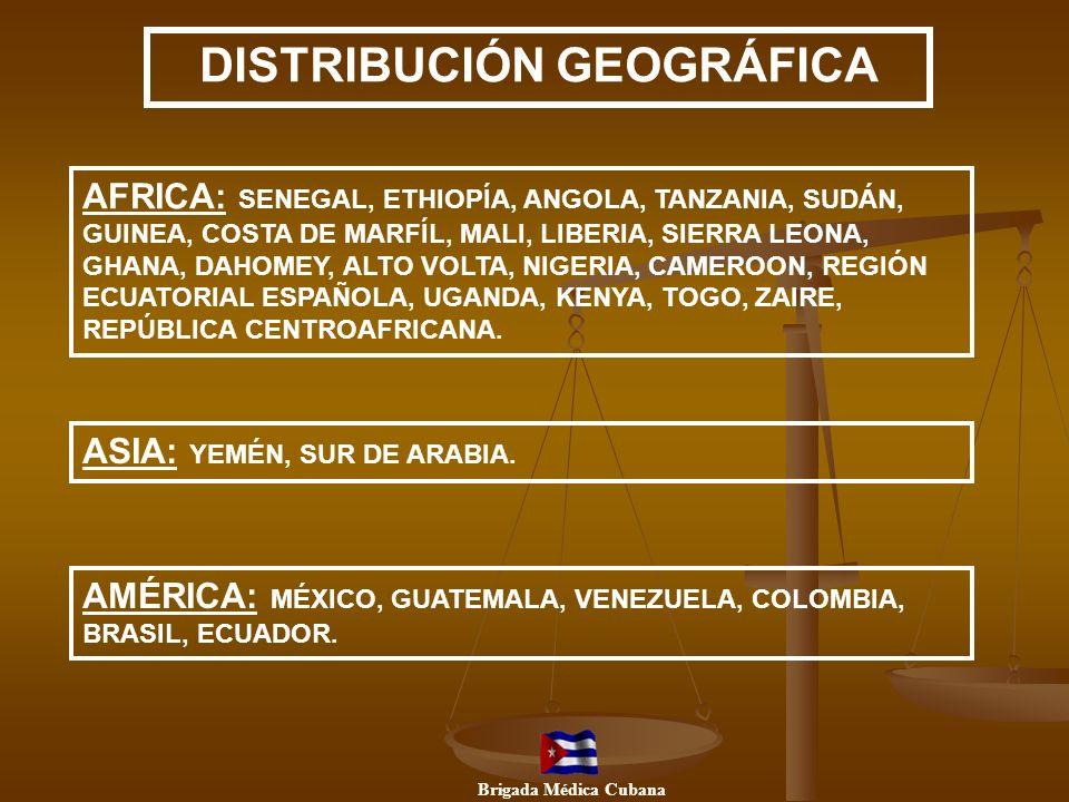 DISTRIBUCIÓN GEOGRÁFICA AFRICA: SENEGAL, ETHIOPÍA, ANGOLA, TANZANIA, SUDÁN, GUINEA, COSTA DE MARFÍL, MALI, LIBERIA, SIERRA LEONA, GHANA, DAHOMEY, ALTO