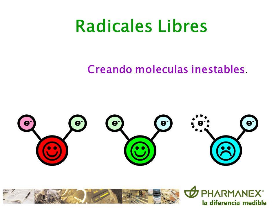 la diferencia medible e-e- e-e- e-e- e-e- e-e- e-e- Creando moleculas inestables. Radicales Libres