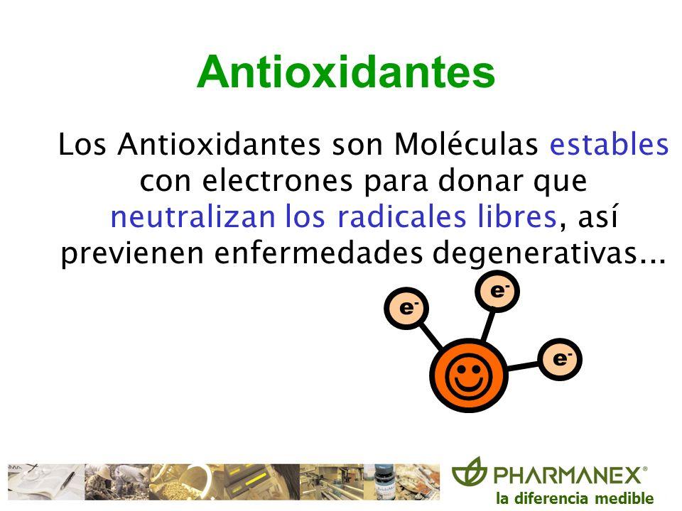 la diferencia medible Antioxidantes Los Antioxidantes son Moléculas estables con electrones para donar que neutralizan los radicales libres, así previ