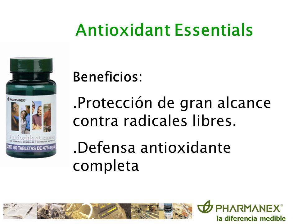 la diferencia medible Antioxidant Essentials Beneficios:.Protección de gran alcance contra radicales libres..Defensa antioxidante completa