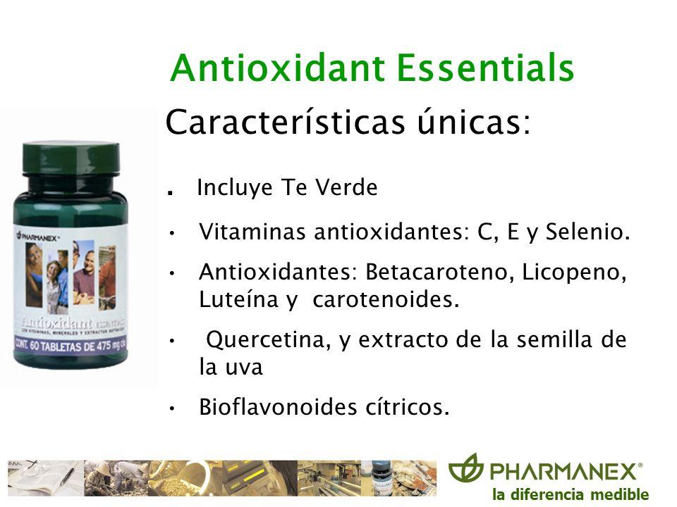 la diferencia medible Características únicas:. Incluye Te Verde Vitaminas antioxidantes: C, E y Selenio. Antioxidantes: Betacaroteno, Licopeno, Luteín