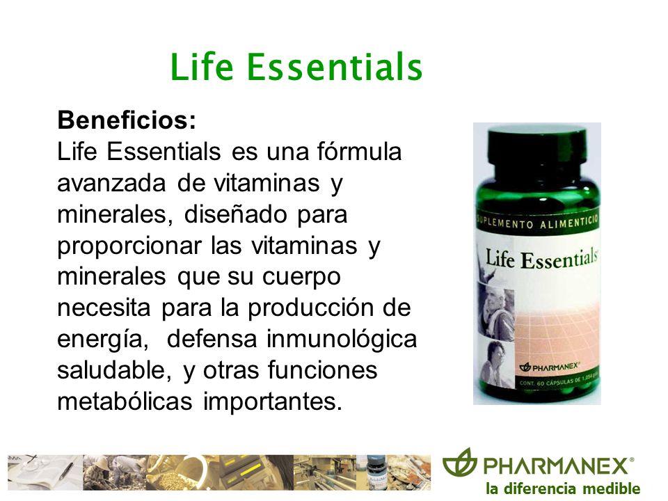 la diferencia medible Life Essentials Beneficios: Life Essentials es una fórmula avanzada de vitaminas y minerales, diseñado para proporcionar las vit