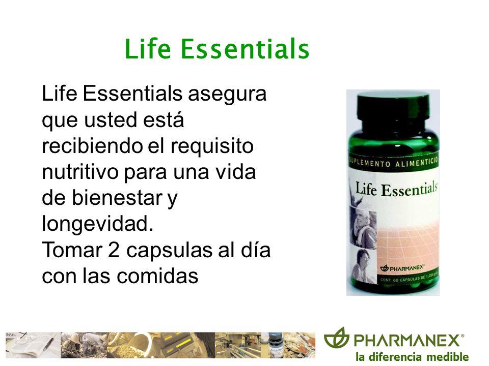la diferencia medible Life Essentials Life Essentials asegura que usted está recibiendo el requisito nutritivo para una vida de bienestar y longevidad