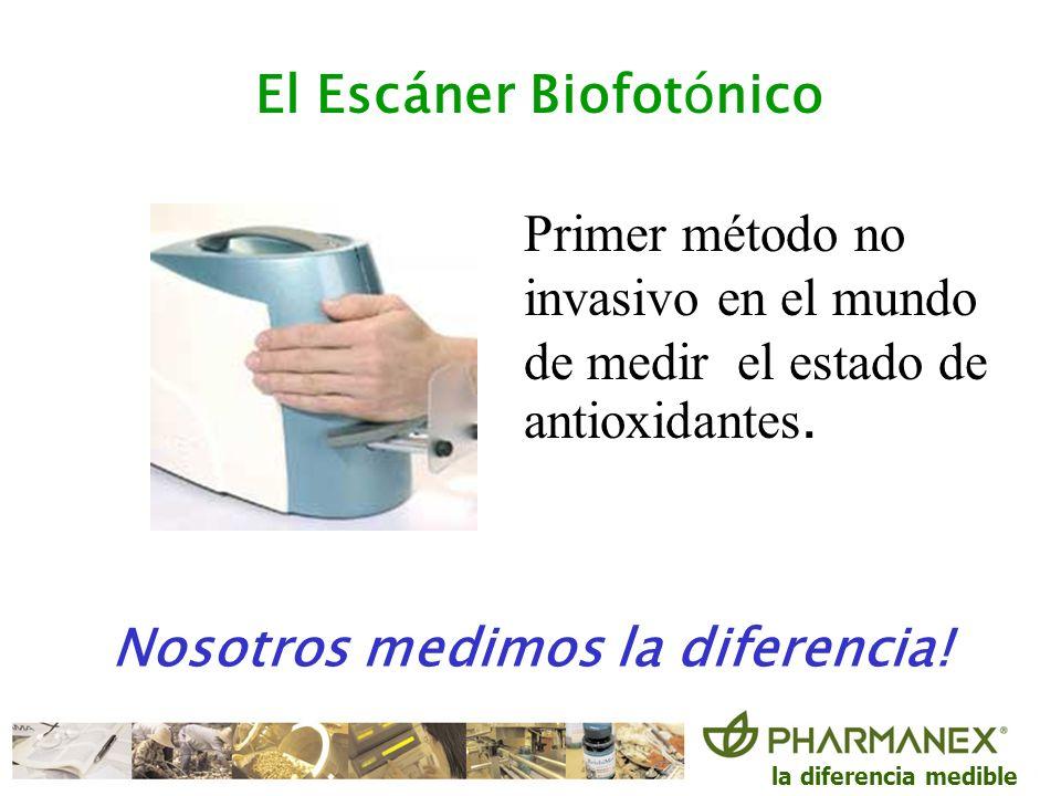 la diferencia medible El Escáner Biofotónico Primer método no invasivo en el mundo de medir el estado de antioxidantes. Nosotros medimos la diferencia