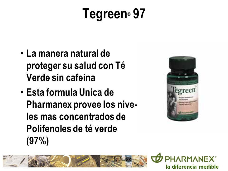 la diferencia medible Tegreen ® 97 La manera natural de proteger su salud con Té Verde sin cafeina Esta formula Unica de Pharmanex provee los nive- le