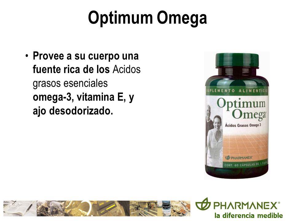 la diferencia medible Optimum Omega Provee a su cuerpo una fuente rica de los Acidos grasos esenciales omega-3, vitamina E, y ajo desodorizado.