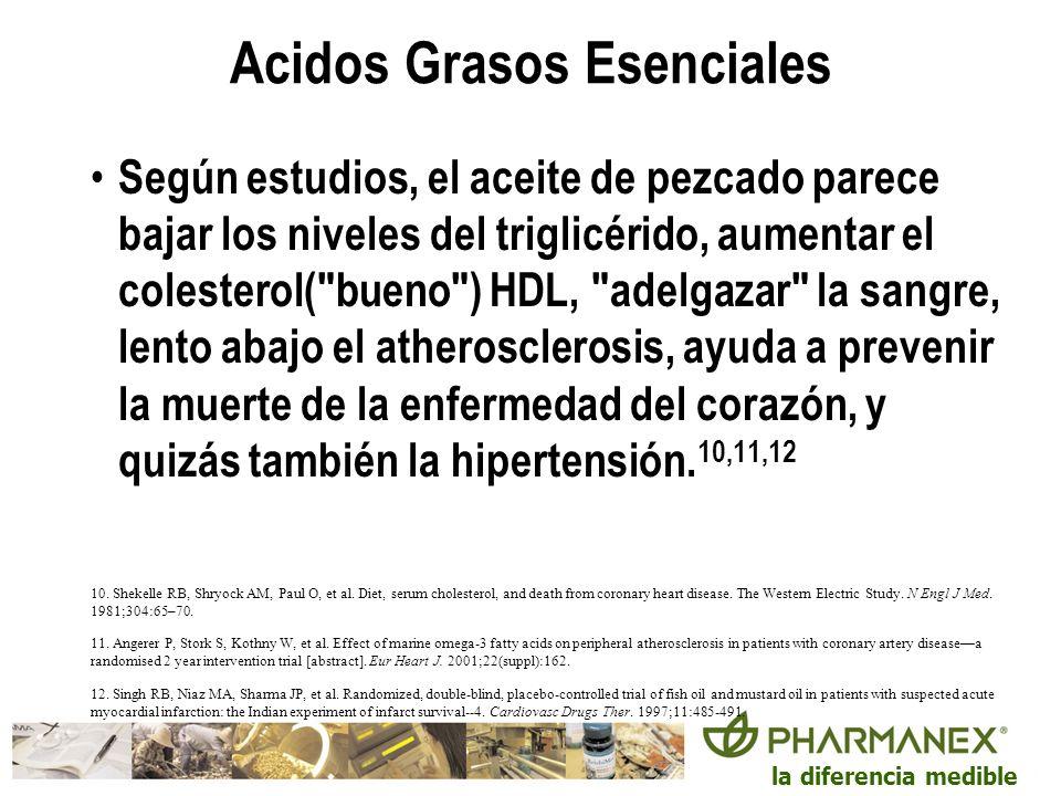 la diferencia medible Acidos Grasos Esenciales Según estudios, el aceite de pezcado parece bajar los niveles del triglicérido, aumentar el colesterol(