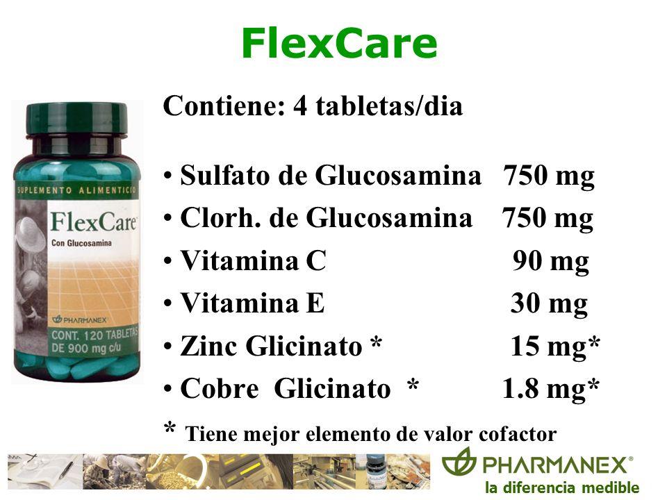 la diferencia medible FlexCare Contiene: 4 tabletas/dia Sulfato de Glucosamina 750 mg Clorh. de Glucosamina 750 mg Vitamina C 90 mg Vitamina E 30 mg Z