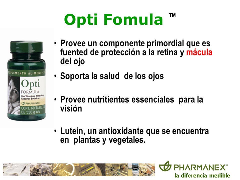 la diferencia medible Opti Fomula Provee un componente primordial que es fuented de protección a la retina y mácula del ojo Soporta la salud de los oj