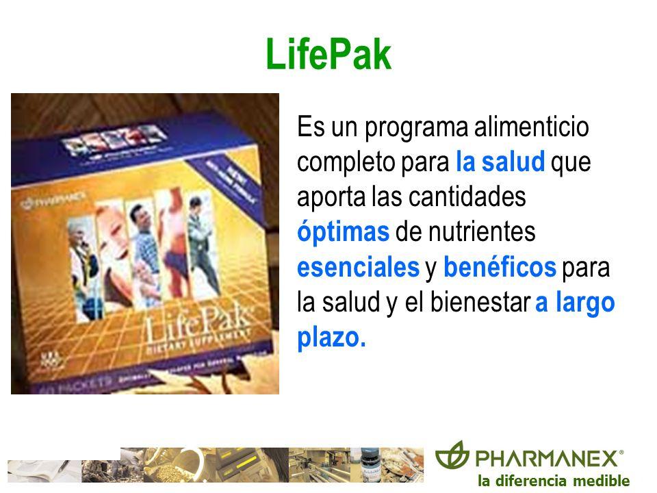 la diferencia medible LifePak Es un programa alimenticio completo para la salud que aporta las cantidades óptimas de nutrientes esenciales y benéficos