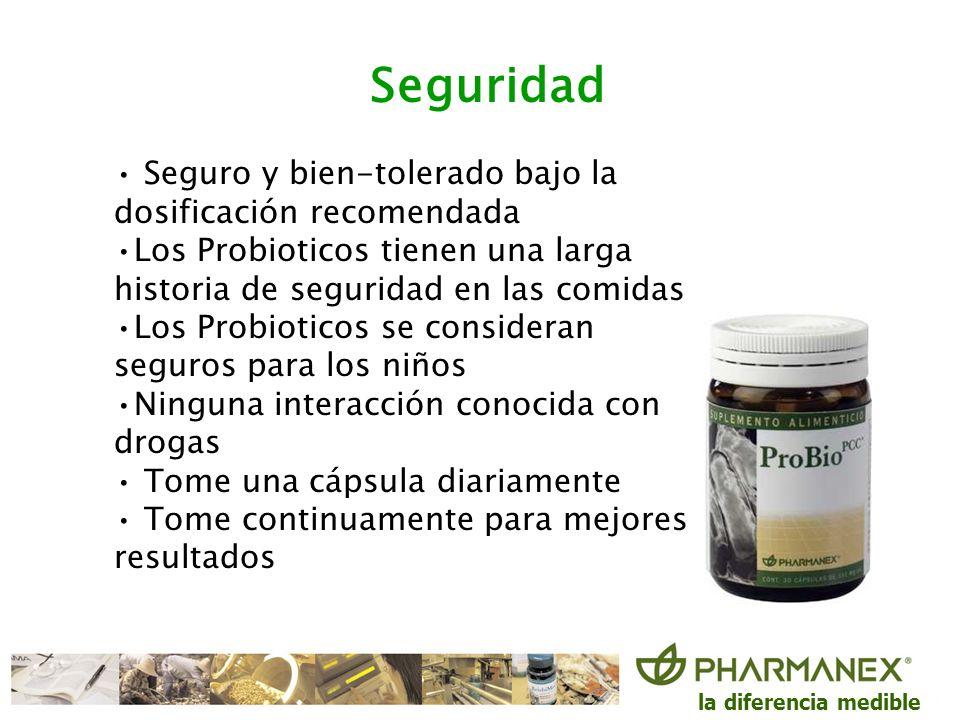 la diferencia medible Seguridad Seguro y bien-tolerado bajo la dosificación recomendada Los Probioticos tienen una larga historia de seguridad en las