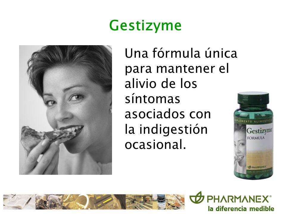 la diferencia medible Gestizyme Una fórmula única para mantener el alivio de los síntomas asociados con la indigestión ocasional.