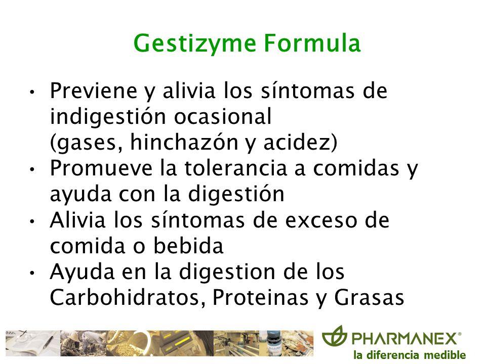 la diferencia medible Gestizyme Formula Previene y alivia los síntomas de indigestión ocasional (gases, hinchazón y acidez) Promueve la tolerancia a c
