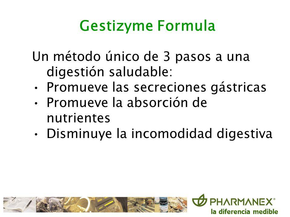 la diferencia medible Gestizyme Formula Un método único de 3 pasos a una digestión saludable: Promueve las secreciones gástricas Promueve la absorción