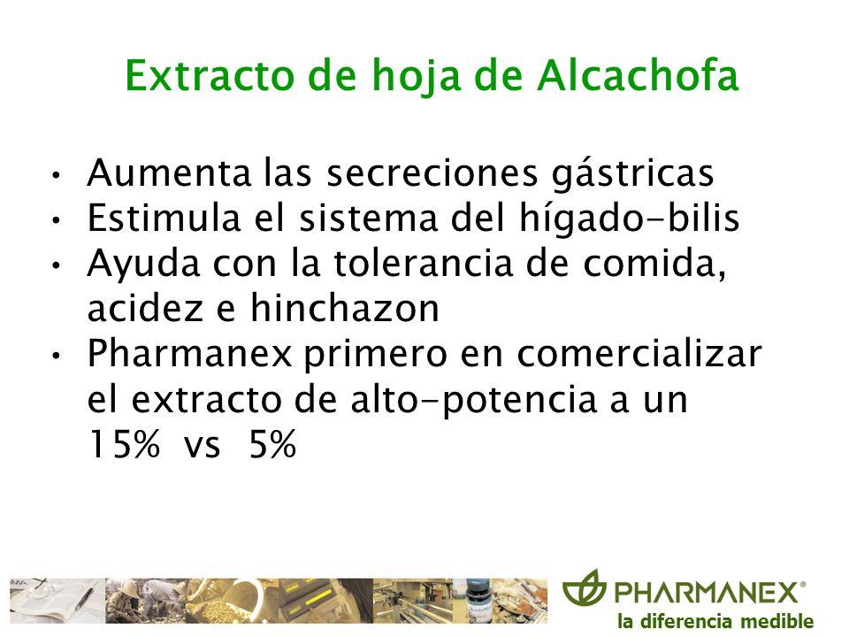la diferencia medible Extracto de hoja de Alcachofa Aumenta las secreciones gástricas Estimula el sistema del hígado-bilis Ayuda con la tolerancia de