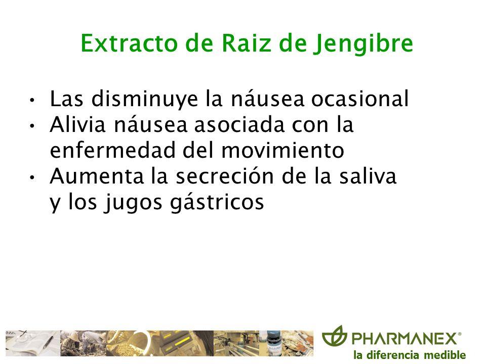 la diferencia medible Extracto de Raiz de Jengibre Las disminuye la náusea ocasional Alivia náusea asociada con la enfermedad del movimiento Aumenta l