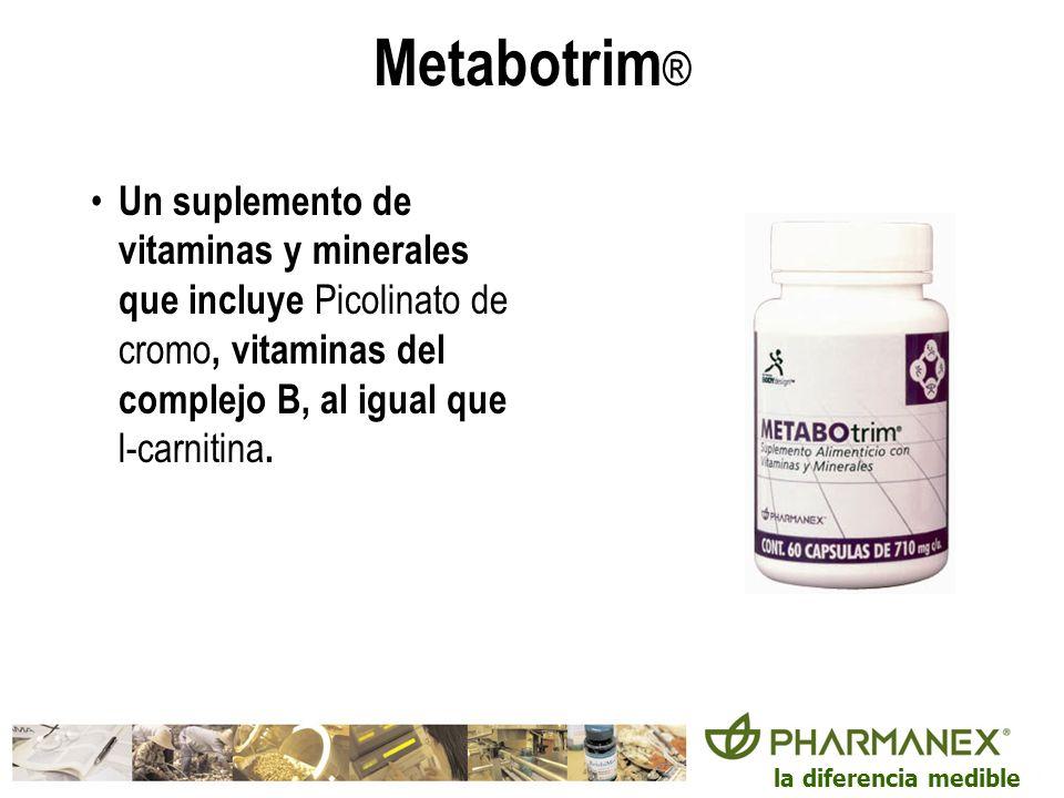 la diferencia medible Metabotrim ® Un suplemento de vitaminas y minerales que incluye Picolinato de cromo, vitaminas del complejo B, al igual que l-ca