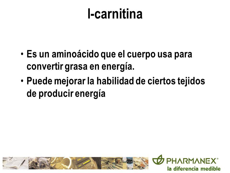 la diferencia medible l-carnitina Es un aminoácido que el cuerpo usa para convertir grasa en energía. Puede mejorar la habilidad de ciertos tejidos de