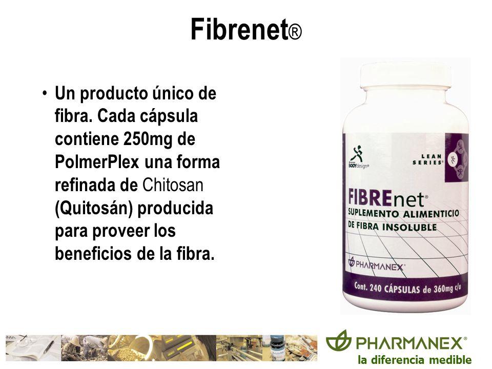 la diferencia medible Fibrenet ® Un producto único de fibra. Cada cápsula contiene 250mg de PolmerPlex una forma refinada de Chitosan (Quitosán) produ