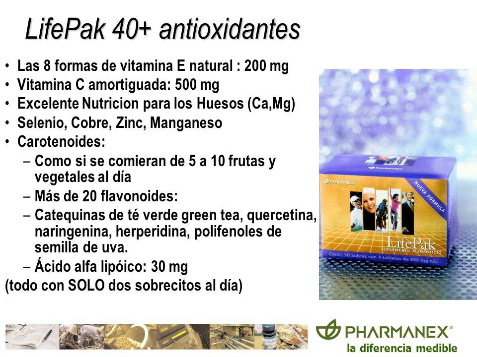 la diferencia medible LifePak 40+ antioxidantes Las 8 formas de vitamina E natural : 200 mg Vitamina C amortiguada: 500 mg Excelente Nutricion para lo