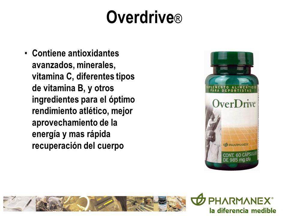 la diferencia medible Overdrive ® Contiene antioxidantes avanzados, minerales, vitamina C, diferentes tipos de vitamina B, y otros ingredientes para e