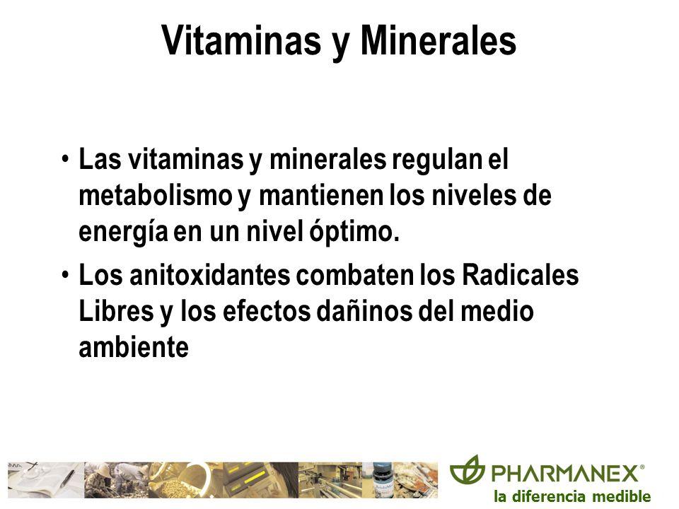 la diferencia medible Vitaminas y Minerales Las vitaminas y minerales regulan el metabolismo y mantienen los niveles de energía en un nivel óptimo. Lo